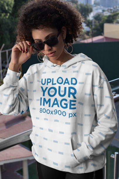 Mockup of a Cool Woman Wearing a Sublimated Hoodie 31161