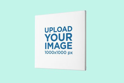 Angled Mockup of a Canvas Placed Against a Customizable Backdrop 2517-el1