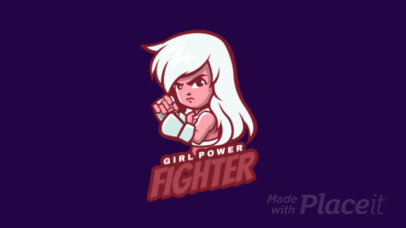 Animated Gaming Logo Maker Featuring a Female Fighter Character 1872f-2891