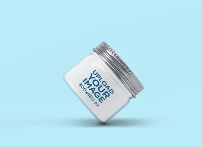 Mockup of a Small Jar with a Customizable Background 2548-el1