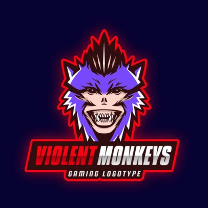 Gaming Logo Template with Aggressive Monkey Illustrations 2903