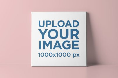Mockup of a Square Canvas Leaning on a Customizable Surface 2525-el1