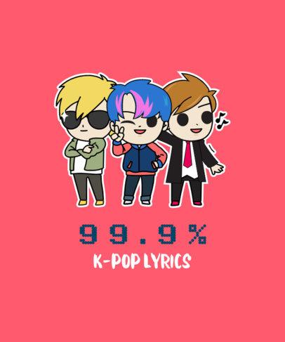 T-Shirt Design Template Featuring a K-Pop Boy Band Illustration 2199f