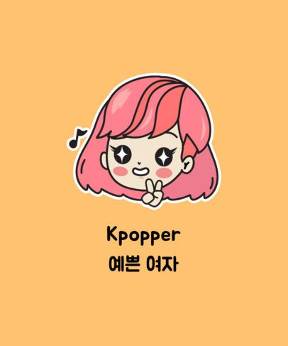 Cute Illustrated T-Shirt Design Maker for Kpoppers 2199j