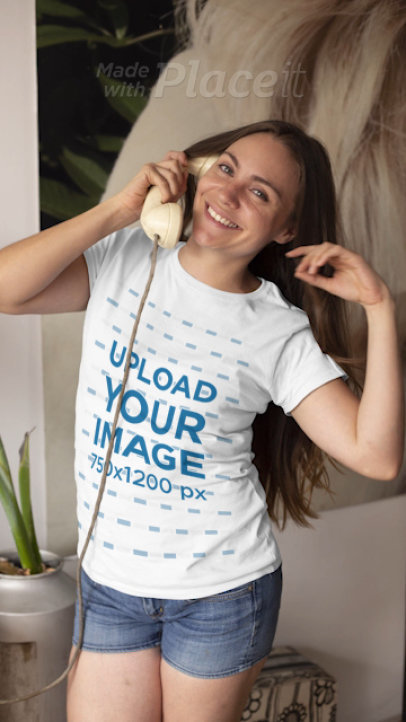 T-Shirt Video of a Woman Playing with Her Long Hair in Stop Motion 22451