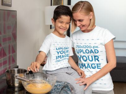 T-Shirt Mockup Featuring a Mom and Her Son Baking in Their Kitchen 31417