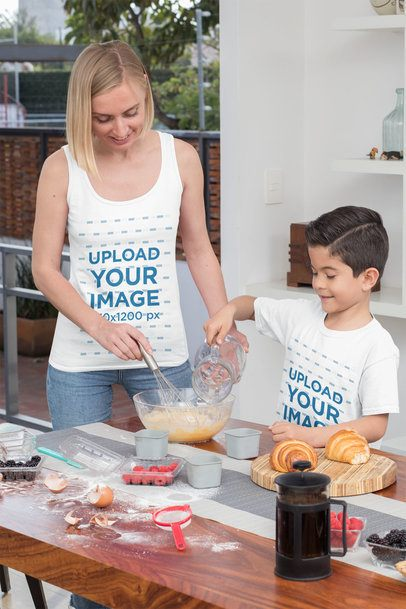 Tank Top Mockup of a Single Mom Baking with Her Son in a Tee 31410