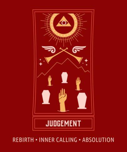 Magical T-Shirt Design Template with a Tarot Card Graphic 2197h