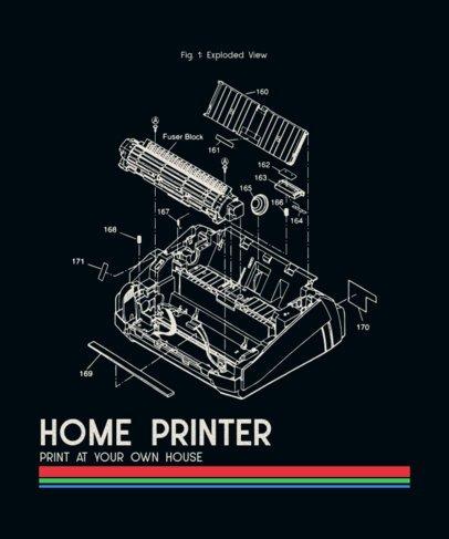 T-Shirt Design Maker Featuring a Retro Typewriter's Parts Diagram 245a-el1