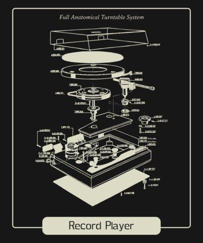 Retro T-Shirt Design Maker Featuring a Turntable Parts Diagram 247b-el1