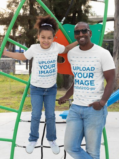 T-Shirt Mockup Featuring a Single Dad and His Daughter at the Park 31387