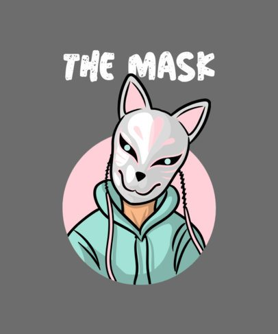 T-Shirt Design Template with a Japanese Kitsune Masked Character 704b-el1