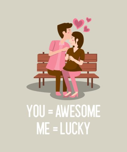 Illustrated Valentine's Day T-Shirt Design Template Featuring a Cute Couple Clipart 649b-el1
