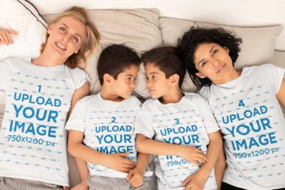 T-Shirt Mockup of Two Moms Lying in Bed with Their Sons 31423