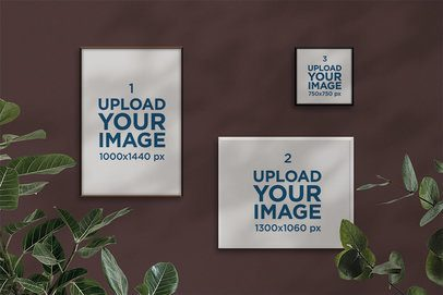 Mockup of Three Posters Surrounded by Plants 2477-el1