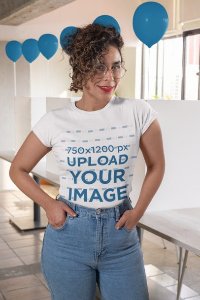 T-Shirt Mockup Featuring a Woman Volunteering for a Political Campaign 31885
