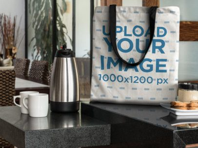 Canvas Tote Bag Mockup in a Modern Kitchen at Breakfast a11562