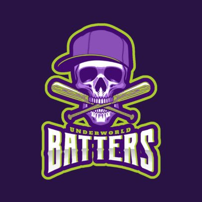 Epic Baseball Logo Generator Featuring a Skull with Bates 172nn-2929