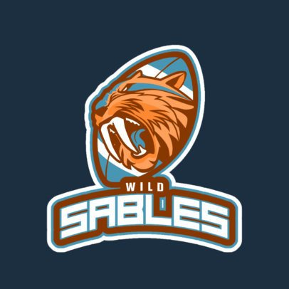 Football Logo Template With a Saber-Toothed Cat Illustration 245tt-2937