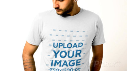 T-Shirt Video Featuring a Serious Man Posing 32026