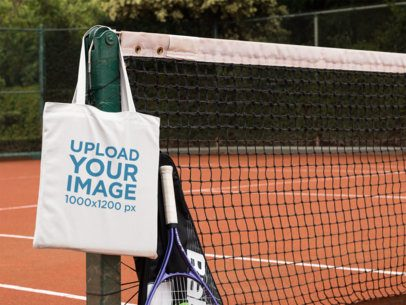 Tote Bag at a Tennis Court Mockup a11563