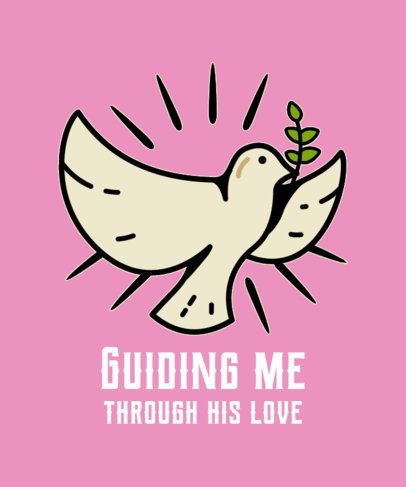 Religious T-Shirt Design Generator Featuring a Dove Illustration 2224g