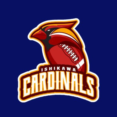 Sports Logo Maker for a Football Team Featuring a Cardinal Graphic a245zz-2936