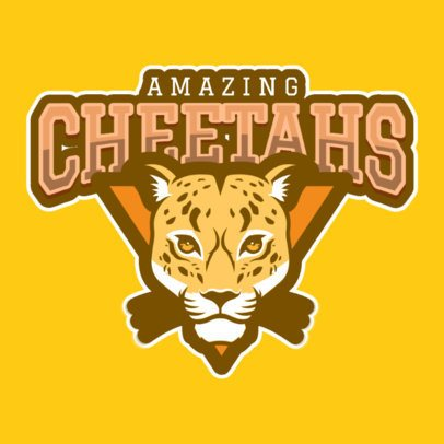 Mascot Logo Template Featuring a Cheetah Graphic 120hh-2935