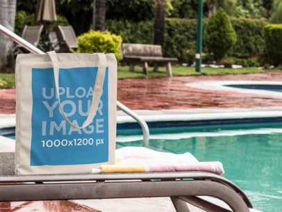 Canvas Tote Bag Mockup by the Pool a11564