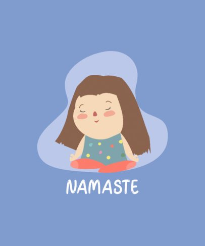 T-Shirt Design Generator Featuring a Cute Illustration of a Girl Meditating 251b-el1