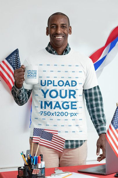 T-Shirt Mockup of a Man Holding a 15 oz Mug in a Political-Campaign Setting 31933