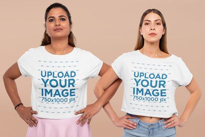 Crop Top Mockup of Two Women in an Empowering Pose 31967