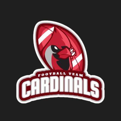 Football Logo Maker Featuring a Cardinal Mascot 1616p-2927