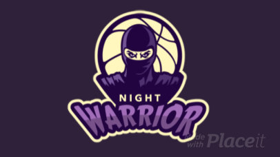 Basketball Logo Maker with an Animated Ninja Warrior Character 336q-2935