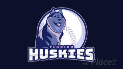 Animated Baseball Logo Maker for Sports Teams With a Cute Husky Clipart 172mm-2927
