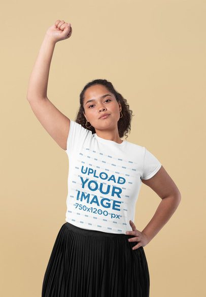 T-Shirt Mockup of a Young Woman Striking a Strong Pose 31987