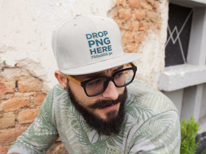 Snapback Hat Mockup of a Hipster Guy With a Beard and Glasses 11838
