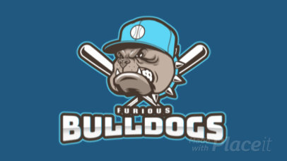 Animated Baseball Logo Maker with a Furious Bulldog Mascot 172tt-2937