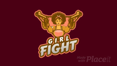 Animated Gaming Logo Maker with a Female Fighter Holding Guns 2637w-2926