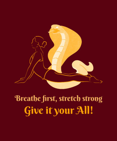 Yoga T-Shirt Design Creator Featuring a Cobra Graphic and a Woman Stretching 2228c