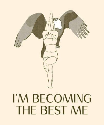Yoga T-Shirt Design Maker Featuring a Female Yogi by an Eagle Graphic 2228h