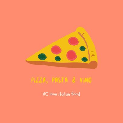 Illustrated Instagram Post Template Featuring Italian Food 2210f-2237