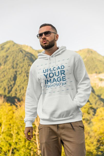 Hoodie Mockup of a Bearded Man Standing Over a Hill 2768-el1