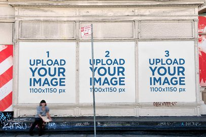 Mockup Featuring Three Billboards Placed on an Old Urban Wall 2742-el1