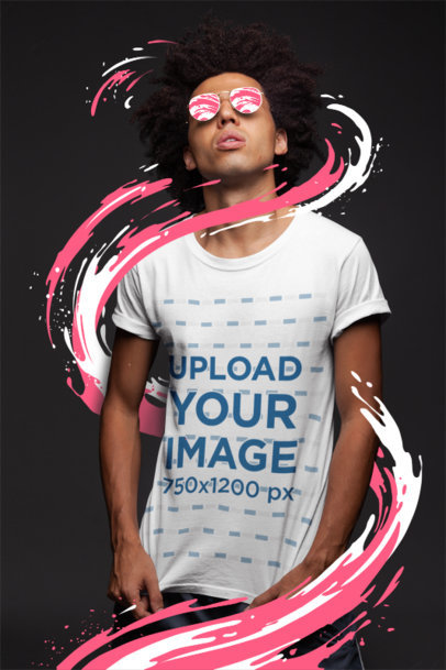 T-Shirt Mockup of a Man with Dark Glasses Under a Bright Light 22859
