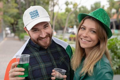 Dad Hat Mockup of a Man Celebrating Saint Patrick's Day 32129