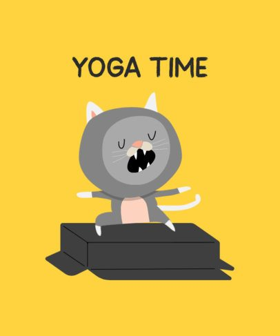 T-Shirt Design Creator for a Fan of Yoga and Cats 249c-el1