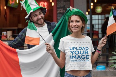 Mockup of a Woman Wearing a Crop Top While Celebrating Saint Patrick's Day 32124