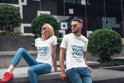 T-Shirt Mockup of Two Friends Posing on The Street 2810-el1