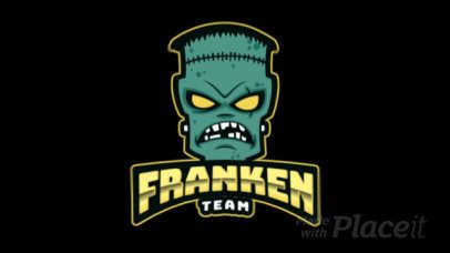 Gaming Logo Maker Featuring an Animated Spooky Frankenstein Face Graphic a383qq-2936